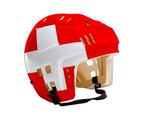 Hockey Helmet With Painted Flag of Switzerland