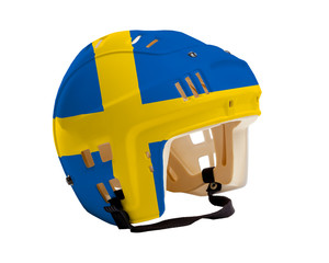 Hockey Helmet With Painted Flag of Sweden