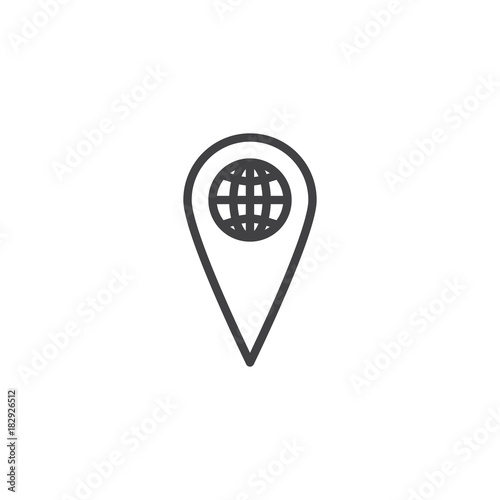 World map pointer line icon, outline vector sign, linear