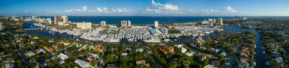 Aerial panorama Fort Lauderdale International Boat Show 2017