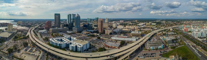 Fototapete - Aerial drone panoramic image Tampa Florida