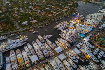 Mega yachts at the boat show aerial image