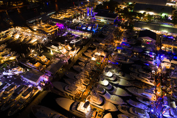 Fort Lauderdale International Boat Show at night