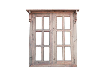 A rustic wooden window is a white background