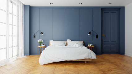 Fototapeta Vintage Modern  interior of  bed room, wood  bed  with wall lamp on  parguet flooring and dark blue  wall  ,3d rendering obraz