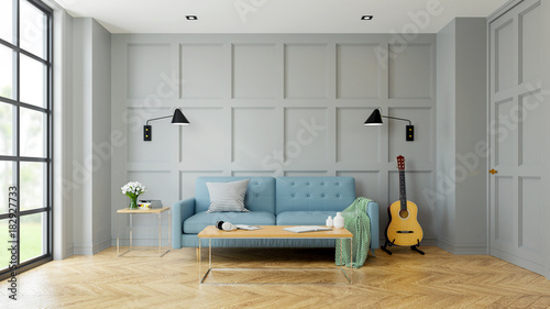 Phenomenal Vintage Modern Interior Of Living Room Blue Sofa Near Black Evergreenethics Interior Chair Design Evergreenethicsorg