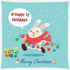 Vintage Christmas poster design with vector rabbit, snowman, Santa Claus characters.