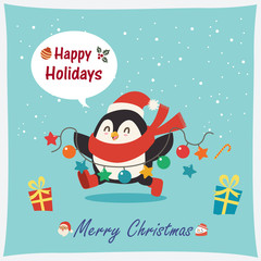 Vintage Christmas poster design with vector penguin, snowman, Santa Claus characters.