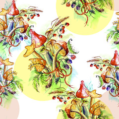 Watercolor seamless pattern - a bunch of mushroom, mushrooms, leaves, berries, mountain ash, oak leaves, strawberry, raspberry, forest berry, mushroom.