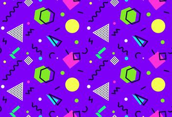 Memphis seamless pattern 80's-90's styles on purple background. Trendy memphis style. . Vector Illustration