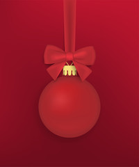 Realistic Christmas ball with bow and ribbon. Template for postcard, poster. Vector illustration