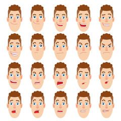 Cartoon Builder Character. Different facial expressions. Emotional set for rigging and animation. Vector illustration in a flat style.