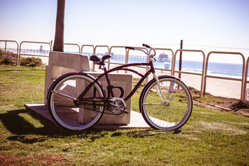 Cruise bike parked at Huntington beach in California