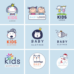 Creative signs, symbols and logo set, Brand identity for baby, kids, and child.