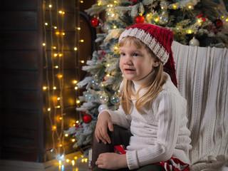 Cute little girl in Christmas hat