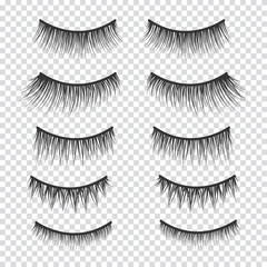 Feminine lashes vector set. False eyelashes hand drawn.