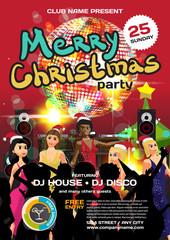Vector christmas party invitation disco style. Night club, dj, w