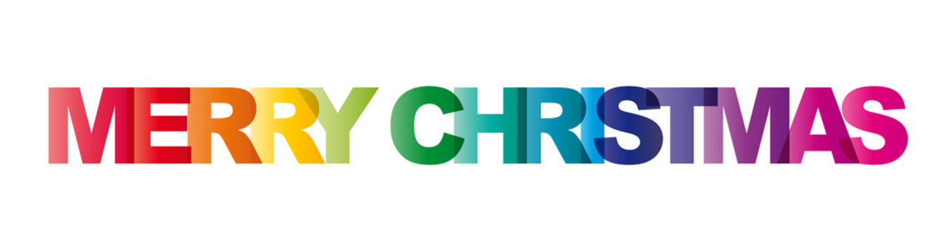 The word Merry Christmas. Vector banner with colorful text, rainbow on white background