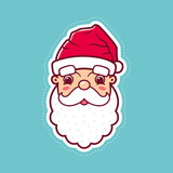 Santa Claus cute smiling face in red hat with white beard