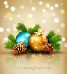 Vector illustration for Merry Christmas and Happy New Year . Greeting card with New Year's balls, branches of spruce and cones on a bright, blurry, sparkling background.