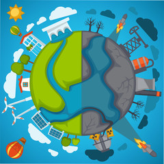 Green eco planet and environment pollution vector poster for save nature protection concept