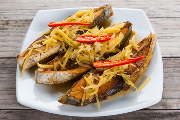 Deep fried fish with ginger and soy sauce