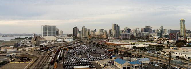 Railroad Yard Depot San Diego Waterfront Downtown City Skyline