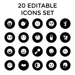 Smile icons. set of 20 editable filled smile icons