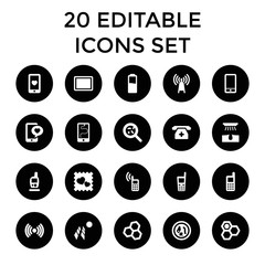Cell icons. set of 20 editable filled cell icons
