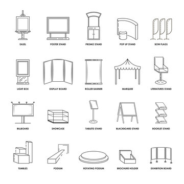 Stands and advertising displays showcase billboard and exhibition constructions vector line isolated icons set