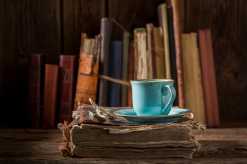Coffee on book in blue porcelain in library