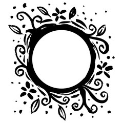 Circle frame with floral decorative.