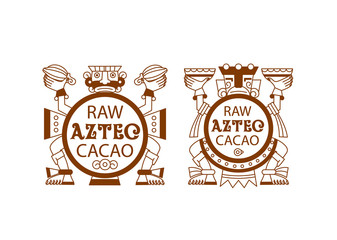 Aztec cacao pattern for chocolate package design. Vector illustration.