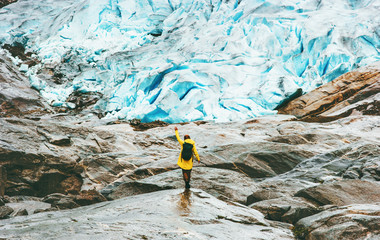 Woman hiking at Nigardsbreen glacier  Travel Lifestyle ecology concept adventure vacations outdoor nature in Norway Wall mural