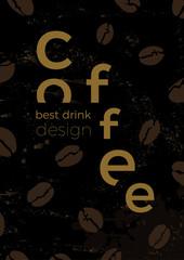 Template of coffee beans. Black vintage vector