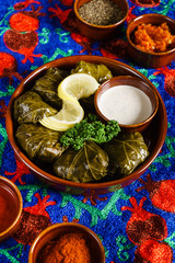 Sarma (grape vine leaves, stuffed with rice),a traditional mediterranean dish