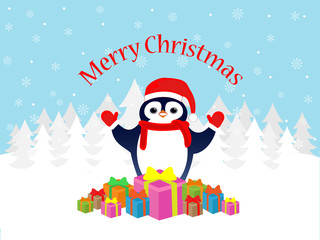 Merry Christmas penguin greeting card
