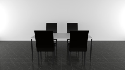 Moderner Esstisch mit vier Stühlen