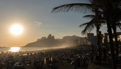 RIO DE JANEIRO, BRAZIL - IPANEMA BEACH JANUARY, 8 2017: Made famous by the song 'The Girl from Ipanema' is an iconic tourist destination in Brazil. Wall mural
