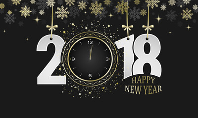 Happy New Year 2018 vector dark greeting card. Numbers with golden bows, snowflakes and clocks.