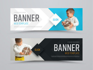 Wall Mural - Templates of black and white vector horizontal web banners with arrows and a place for a photo. Minimalist design. Set. Blurred image for example