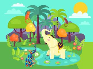 Indian Flora and Fauna Cartoon Vector Illustration