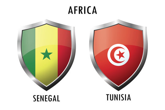 Icon shield with flags Senegal and Tunisia