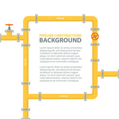 Industrial background with yellow pipeline. Pipes in shape frame for text. Oil, water or gas pipeline with fittings and valves.