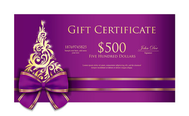 Luxury Christmas gift certificate with purple ribbon and ornmament Christmas tree