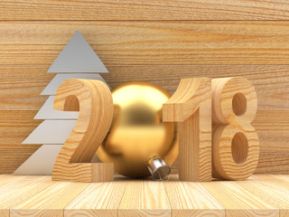 Wooden number 2018 New Year and silver Christmas tree on wooden background. 3D illustration