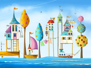 Watercolor magical houses (city, street) with water, boats, trees and birds. Hand drawn illustration.