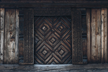 Old carved traditional Norwegian door