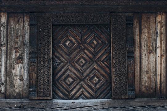 Old carved traditional Norwegian door