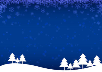 Christmas tree with snow and snowflakes on blue background. Christmas and Happy New Year concept vector illustration
